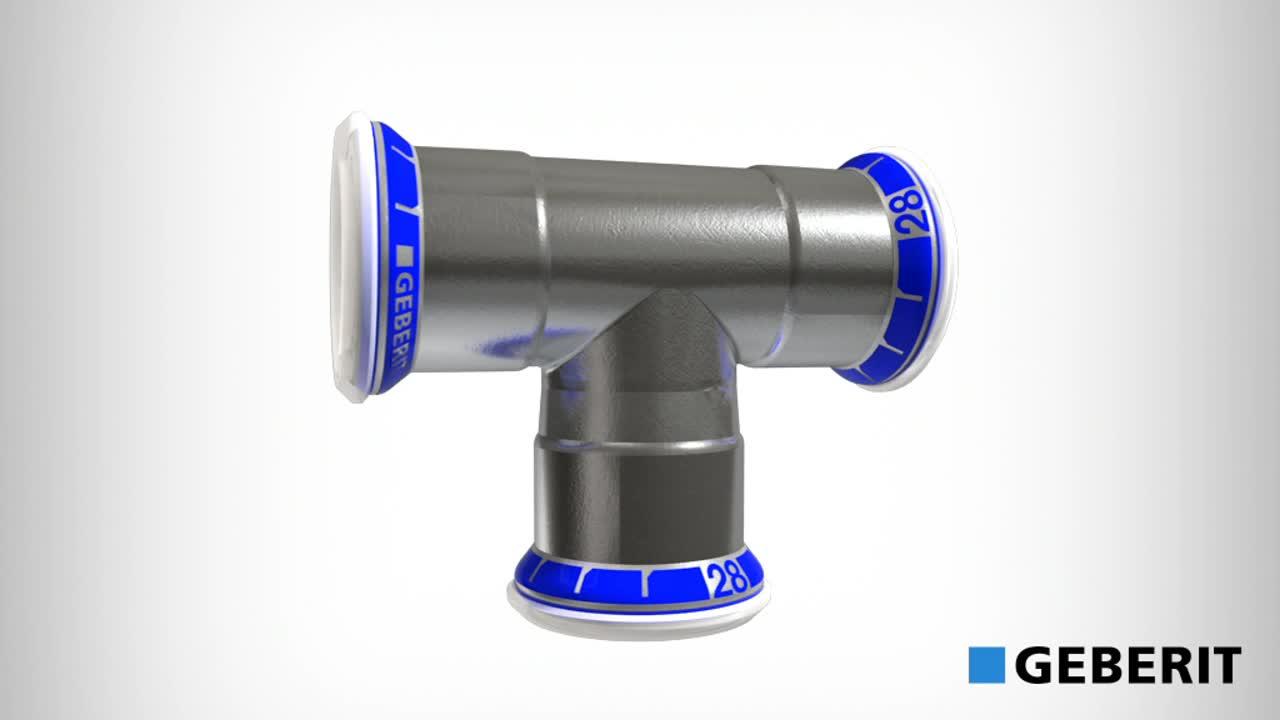 Geberit Mapress nerūdijančiojo plieno montavimas, kai naudojamos DN <35mm presavimo replės