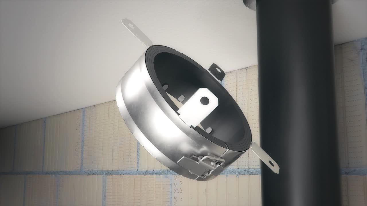 Instalação da proteção contra incêndios com registo corta fogo RS90