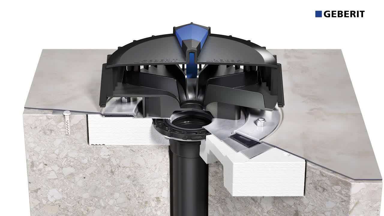 Instalação de Geberit Pluvia com placa de coordenação e lâmina plástica