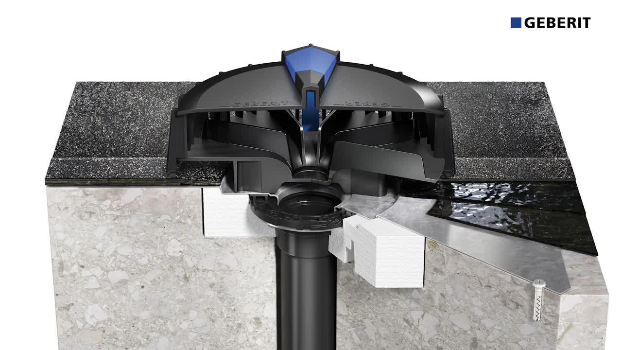 Installation de Geberit Pluvia sur toiture avec étanchéité bitumineuse
