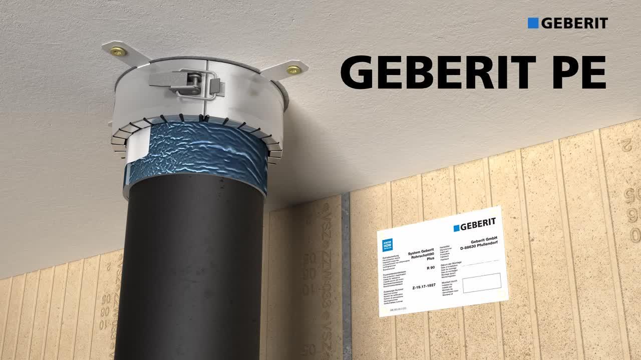Geberit 화재 방지 슬리브 RS90 Plus의 효율적인 화재 방지