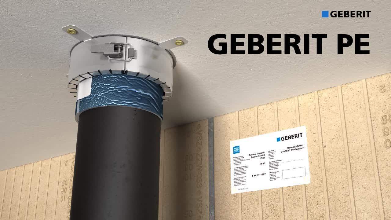 Učinkovita protipožarna zaščita s protipožarno objemko Geberit RS90 Plus