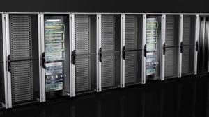 Netzwerk-/Serverschrank VX IT mit Sichttür, vormontiert, mit 19